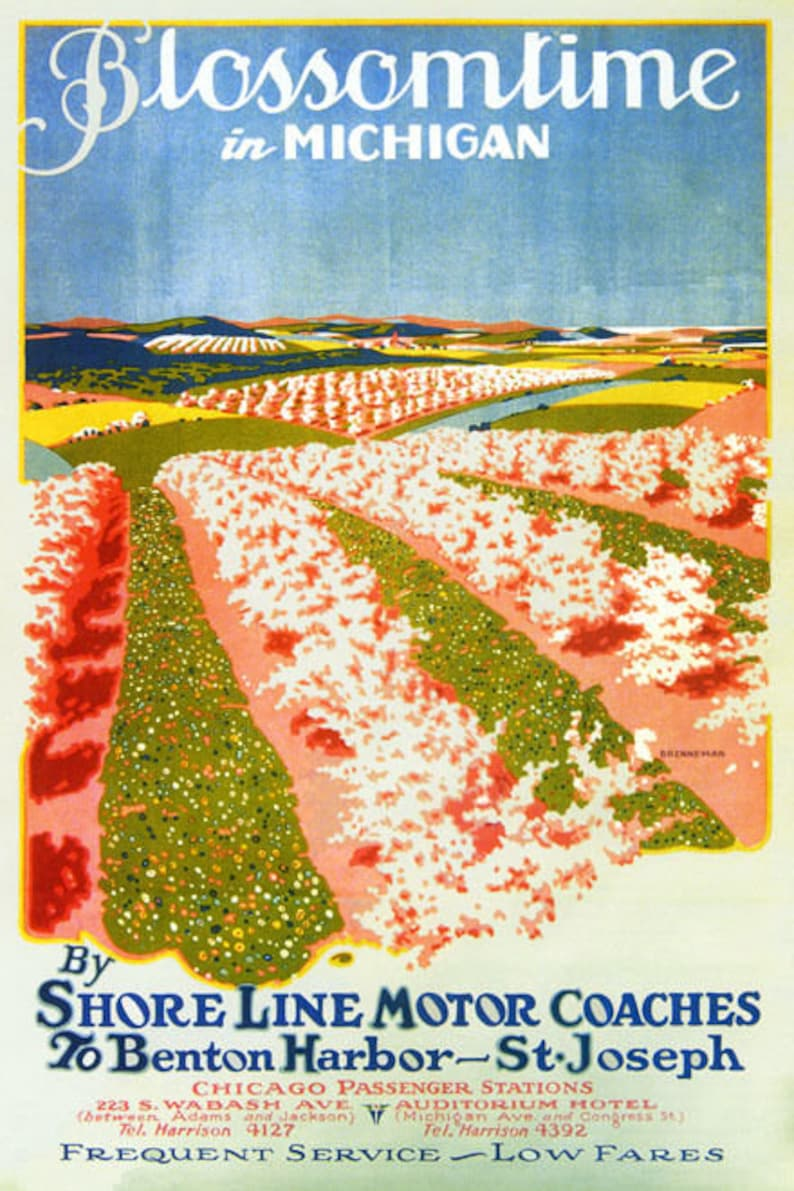 Blossomtime In Michigan Flowers By Shore Line Motor Coaches Vintage Poster Repro
