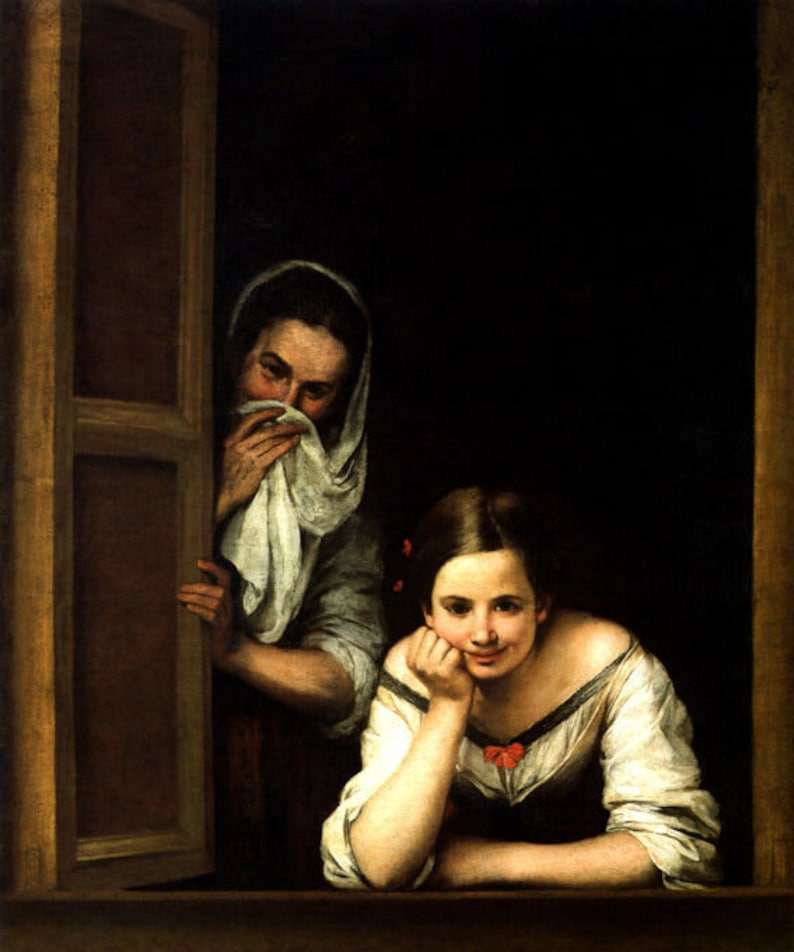 Two Women At A Window 1655 Spanish Painting By Bartolome Esteban Murillo Repro