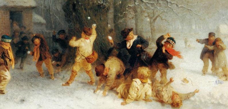 Boys Snowballing Winter Children Play Painting By John Morgan Canvas Repro Large