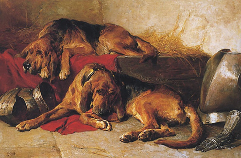 Bloodhounds Dog At Rest Painting By John Noble On Canvas Repro 10X16