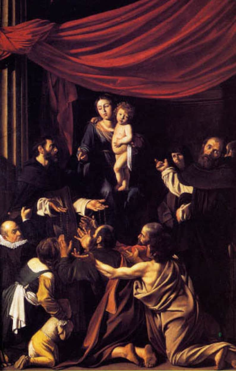 Madonna Of The Rosary Saint Dominic Painting By Caravaggio On Canvas Repro Large