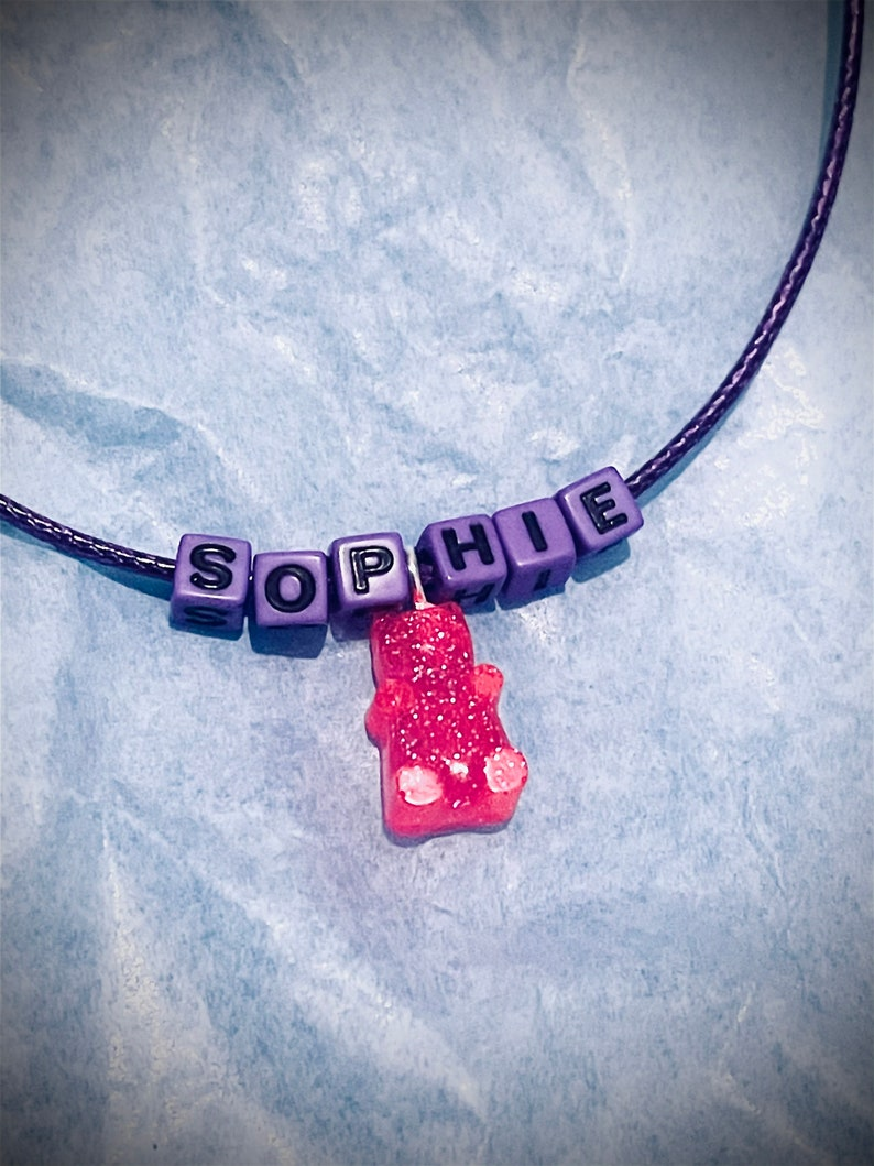 Handmade Personal Necklace personalised + custom Gummy Bear Resin chord necklaces resin