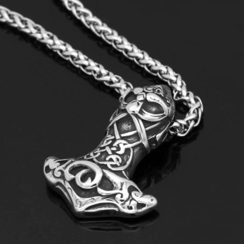 Nordic Viking Mjolnir Stainless Steel Thor Face Hammer Amulet Necklace For Men With Valknut Gift Bag