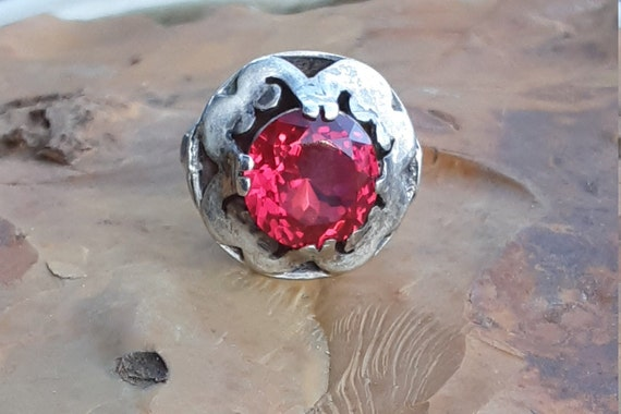 Vintage Silver Taxco Mexico Ruby Ring - image 1