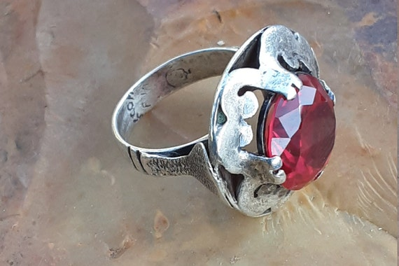 Vintage Silver Taxco Mexico Ruby Ring - image 4