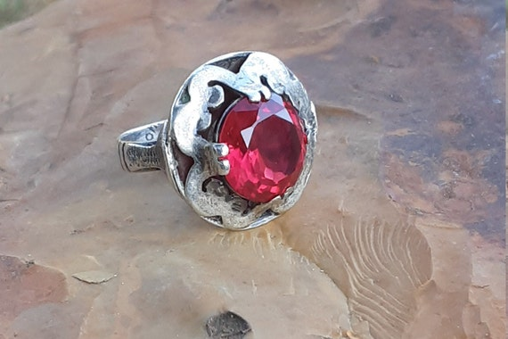 Vintage Silver Taxco Mexico Ruby Ring - image 5