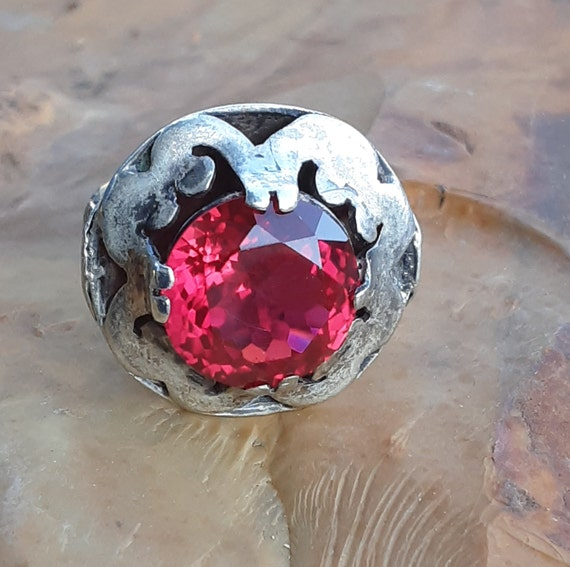 Vintage Silver Taxco Mexico Ruby Ring - image 2