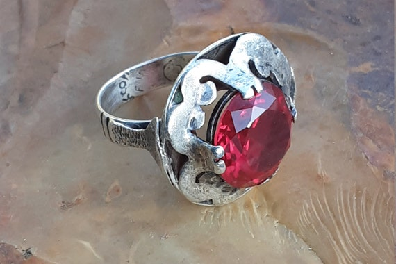 Vintage Silver Taxco Mexico Ruby Ring - image 3