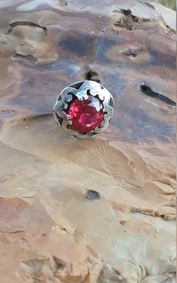 Vintage Silver Taxco Mexico Ruby Ring - image 8