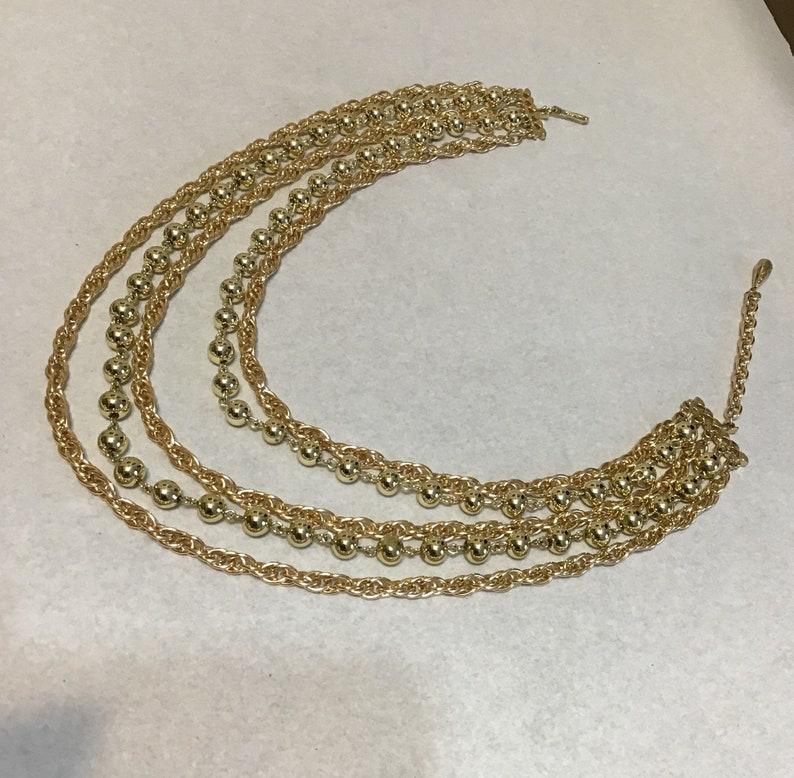 Vintage Coro Multi Strand Gold Tone Necklace