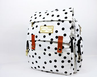 Mymama Aubree Polka-dot Baby Changing Bag