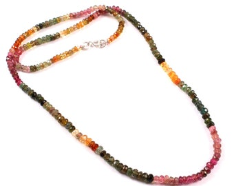 Tourmaline silver wired beads string wholesale beautiful natural tourmaline beaded string