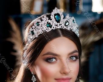 gold bridal tiara vine headpiece,emerald tiara,emerald gold crown,vine Gold with green crown green with gold tiara,elven  crown,elf tiara