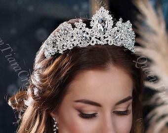 2 Greek Orthodox Wedding Bridal Crowns in Silver Colour with Crystals Rhinestones
