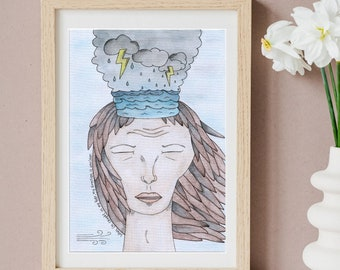 Fear and Anxiety   Watercolour Artwork Print   A4 Poster   21x30cm