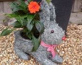 Cute brushwood wicker rabbit planter