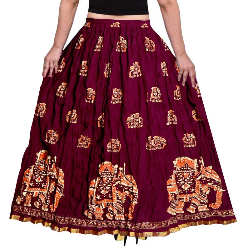 Multicolor, Women/'s Mandala Hand Block Printed Long  Around Skirt With Elastic /& Knote In Free Size