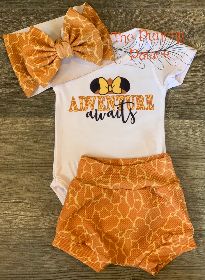 Adventure Awaits Toddler or  Baby Outfit Set Leopard Bummies  Animal Kingdom outfit Adventure  Baby Bodysuit