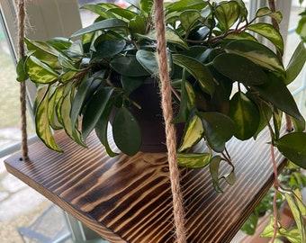 Hanging plant shelf, hanging planter, wooden hanging shelf, minimalist, simple shelf