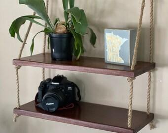 Wall shelf, hanging wall shelf, minimalist, hanging plant shelf, hanging planter, boho decor, wooden hanging shelf, simple shelf, houseplant