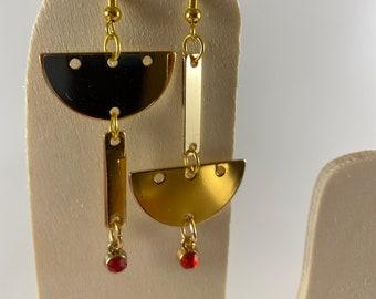 Asymmetrical Star Drop Earrings Mismatched Earrings Asymmetrical Mismatch Earring Statement Dangle Earrings Handmade Jewelry Gold Earrings