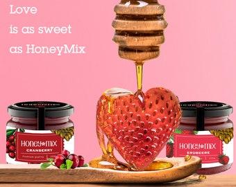 1.25kg (5x250g) creamy HoneyMix honey with cranberry