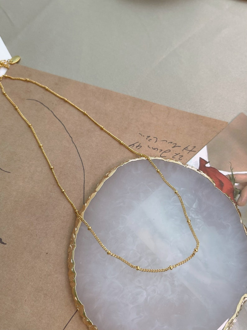 Gold dainty layer necklace Simple layering necklace Satellite necklace Gold station necklace Dainty beaded necklace