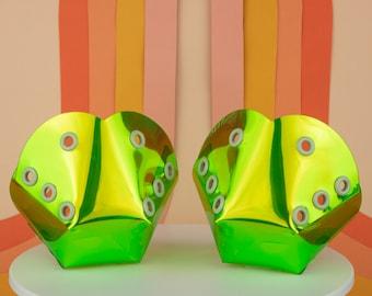 Malachite- Green Transparent Holographic Roller Skate Toe Guards/Caps