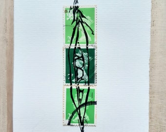 Mini peapod with green postage stamps print collage