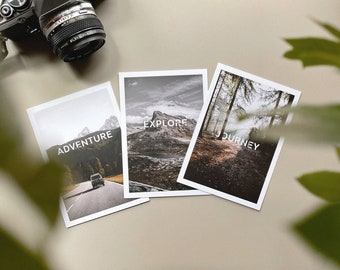 Adventure Postcards : Set of 3 photo cards - Journey - Explore - Adventure   photography by Jurriaan Huting - Postcards A6 mat