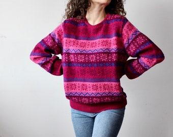 Women/'s Benetton Purple Pink Striped Sweater