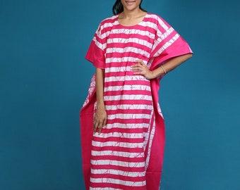 New MALAYA 100/% Cotton Kaftan Dress Maxi Long Tunic Batik One Size Plus Beach 48