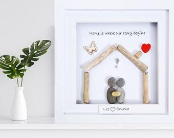 New Home, Pebble Art, New Home Gift, Handmade New Home Gift, Personalised New Home Gift, New Home Pebble Art, Housewarming Gift, New House