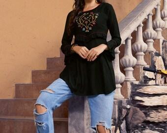 Women Indian Kurti Pakistanais Kurta Soie Brodée Dentelle Long Haut Tunique