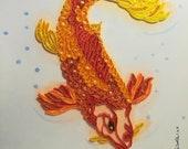 Quadro Koi Carpa fish realizzato con tecnica quilling e sfondo ad acquerello