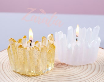 Diy crystal drop plastic mould Lotus candlestick ashtray multi-functional mirror silicone mould