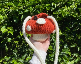 Crochet Mushroom Shoulder Bag - Cottagecore Fairycore Mushy Handbag Tote
