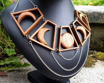 Sword earrings brass wood crystal dangle earrings tigers eye pagan witch jewellery handmade gift accessories