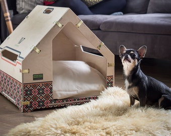 Modern Cat House Indoor Dog and Cat House Personalized Cat House Pet Furniture Woodenvita Personalized Easy Assemble Wooden Pet House