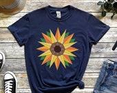 Sunflower T-Shirt,Barn Quilt Sunflower, Sunflower shirts for women,sunflower shirt,Spring t-shirts,Floral Tee,Flower Shirt,Garden Shirt