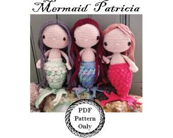Mermaid Doll Crochet / PDF pattern / amigurumi doll / crochet mermaid / crochet doll pattern / little mermaid / yarn and soul crochet