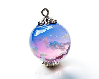 DUSK Sky clouds resin pendant necklace, crescent moon in sky resin pendant necklaces, cloud resin, galaxy space glass resin ball orb