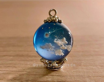 Sky cloud resin ball charm, shooting sta blue orb pendant necklace, resin galaxy ball, wish necklace, handmade resin accessory jewelry