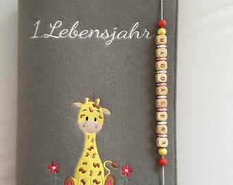 Personalisiertes Babytagebuch,,Giraffe,, aus Filz