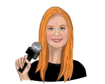Digital Caricature Sketch (Shoulders-Up)