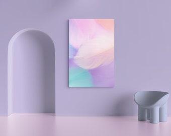 Pastel Colour Feather | Illustration, Printable Wall Art,Modern Art, Wall Decor, Digital Download
