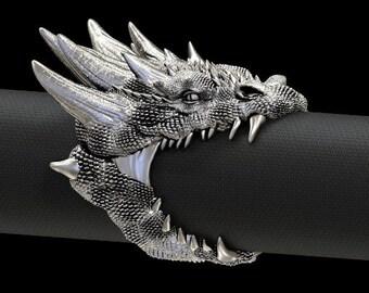 Dragon Head Sterling silver 925 ring Ring love gift for him handmade animal biker men women foo