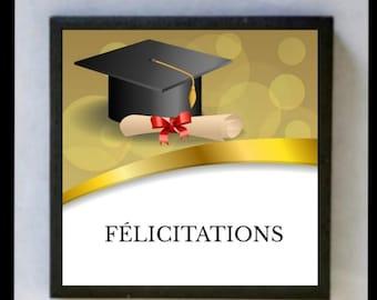 "Ceramic magnet, to fridge, gift idea for finisher, magnet, ""Congratulations"""