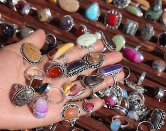 Rings Lot, Handmade jewelry vintage rings, hippie rings, silver rings for women, crystal rings, chunky rings, boho rings for gift