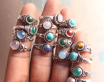 Mixed crystal rings, Handmade Jewelry rings, Stacking rings, Vintage rings for women, Boho rings for halloween gift, Silver overlay rings
